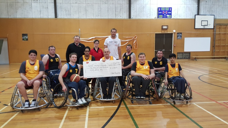 Ali Williams with Parafed Waikato Wheelchair Basketball Development team